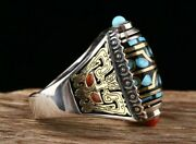 Fashion Jewelry 925 Sterling Silver Copper Turquoise Red Agate Eight Dzi Ring
