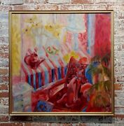 Betty Thomson - The Pink Pussy Cat - 1960s Mid Century Oil Painting
