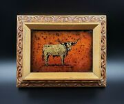 Authenticated Texas Jack White Longhorn Bull Uno Gold Leaf Echruseos Painting