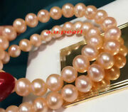 Long Aaaaa 3611-12mm Round Real Natural South Sea Gold Pink Pearl Necklace 14k