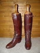 Ww1 Craig And Davies Military Brown Leather Field Boots Uk 9 Wide W/ Wooden Trees