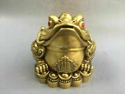 13'' Brass Copper Exorcise Evil Spirits Blessing Treasure Guard Toad Jin Chan