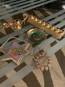 Lot Of Vintage Hanging Jewish Star Of David/lamp/plate And More
