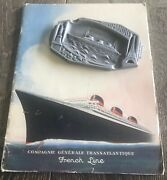 Rare Vintage French Liner Normandie Luxurious Brochure + Ashtray- Art Deco 30s