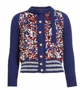 Marc Jacobs Womens Sequin Wool Cardigan Sweater Red Blue And White Sz Xs 1600