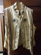 Leather Fringe Vest And Chaps Cowboy Motorcycle Native American Size 12