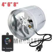 4 6 8 Inch Inline Duct Booster Fan Exhaust Air Blower Cooling Ventandcontroller
