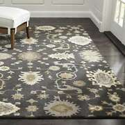 Crate And Barrel 8' X 10' Juno Gray Handmade Oriental Style Woolen Rugs And Carpet