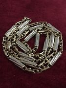 26 Inches Two Tone Yellow And White Gold Solid Heavy Barrel Link Chain 10 Kt