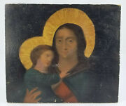 Antique 19th Century Oil On Artist Panel Religious Icon Madonna And Child French