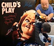 Child's Play Signed 11x14 W/ Alex Vincent And Ed Gale Chucky Wanna Play Proof