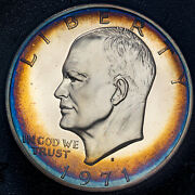 1971-s Eisenhower Brown Ike Silver Dollar Bu Stunning Color Toned Unc Proof