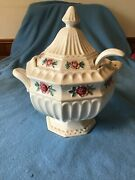 Vintage Ceramic Soup Tureen With Ladle Trimmed In Red Cabbage Roses Japan