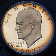 1971-s U.s Proof Eisenhower Brown Ike Silver Dollar Choice Color Toned Bu Unc