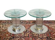Vintage Glass And Metal Chromed Mounted Side Tables