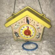 Vintage Pull Cord Kohnerand039s Musical Busy Koo Koo Clock Childrenand039s Cuckoo Toy