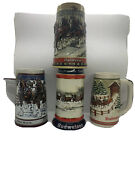 Lot Of 4 Budweiser Clydesdale's Holiday Beer Stein Christmas Mugs 1984 88 89 90