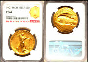 1907 20 High Relief-lettered Edge Pr61 Ngc-rare First Year Of Issue