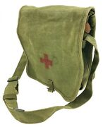 Vintage Shoulder Canvas Bag Red Cross Medical - Military First Aid Green Pouch