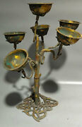 27.2 China Ancient Bronze Candlestick Christmas Tree Old Bronze Wax Table Ljt