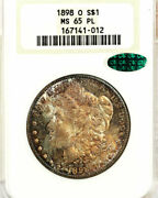 1898-o 1 Ms65pl Ngc/cac-rare Monster Rainbow Multi Color Museum Toning -morg