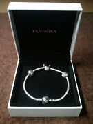 Pandora Sterling Silver Disney Mickey Bracelet Clear Cz With 2 Clips And 1 Charm
