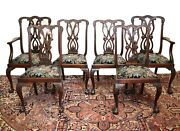 Mahogany Chippendale Style Upholstered Ribbon Back English Dining Chairs 19th C.