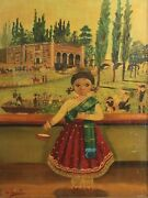 Agapito Labios Mexican 1898-1996 Oil Painting Little Girl With Basket