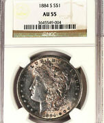 1884-s 1 Au55 Pcgs-amazing Sharp And Mirror -luster-morgan Dollar