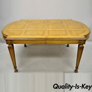 Vintage Karges Italian Provincial Parquetry Inlay Top Dining Table W/ 3 Leaves