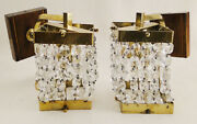 Antique French Empire Style Bronze And Glass Pair Of Sconces 1303