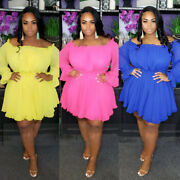 Womens Plus Size Off-shoulder Loose Candy Colored Cute Spring Dress Gown 64 Mg