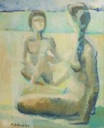 Pierre Colombier 1896 - 1958 Oil Painting Seated Nude Figures