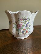 """Aynsley 6-1/4"""" Tall Victorian Cachepot Pembroke Gold Trim Birds And Flowers"""