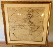300 Year Old Guillaume De L'isle Early 18th Century Map W. Hemisphere New Frame