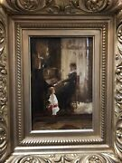 Mother Playing Piano For Her Son Edmund Blume Antique Signed Oil On Board.