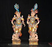 Rare Old Chinese Pottery Porcelain Painted Gold Exorcism General Door God Statue