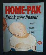 1967 Dairy Queen Home Pak Stock Your Freezer Ice Cream Litho Store Poster Sign
