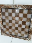 100 Marble Chess Set White And Brown Coral Color All Pieces Included 20x20 Vtg