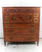 Continental Low Secretary Cabinet Turned Front Legs 19th C.