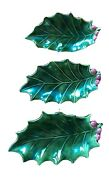 Holland Mold Green Holly Leaf And Red Berry Nesting Candy Dishes Vintage Set Of 3