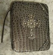 Montana West Grey Reptile Animal Print W/ Studded Cross Bible Cover Bag Carrier