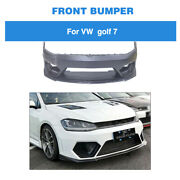 Front Bumper Cover W/carbon Front Lip Body Kit Fit For Vw Golf 7 Mk 7 Vii 14-17