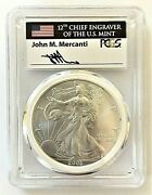 2002-mint Engraver Silver Eagle-pcgs Ms70-first Strike-mercanti-population 80