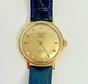 Longines Admiral 5 Star 18k Yellow Gold Automatic Watch Black Leather Strap 60and039s