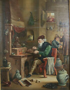 After David Teniers The Younger Signed R Howe The Chymist Chemist Oil Painting