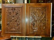 Antique Art Hand Carved Wooden Panels - 2 Matching Panels