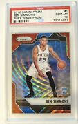 2016 - 17 Panini Prizm - Ben Simmons Rc Rookie - Red Ruby Wave Psa 10 - Rare