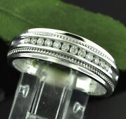 14k Solid White Gold 0.30 Ct Ladies Natural Diamond Ring Wedding Band Mill Grain