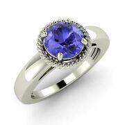 Solitaire Certified Tanzanite Antique Look Engagement Ring 14k White Gold-0.9 Ct